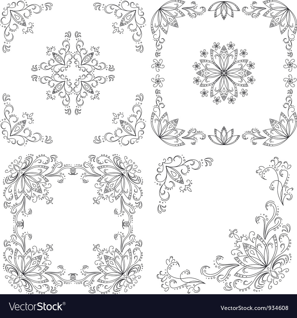 Set abstract floral backgrounds outline vector | Price: 1 Credit (USD $1)