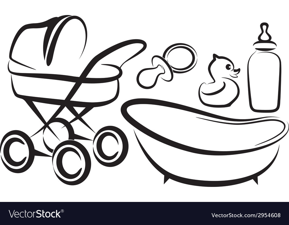 Set of baby items vector | Price: 1 Credit (USD $1)