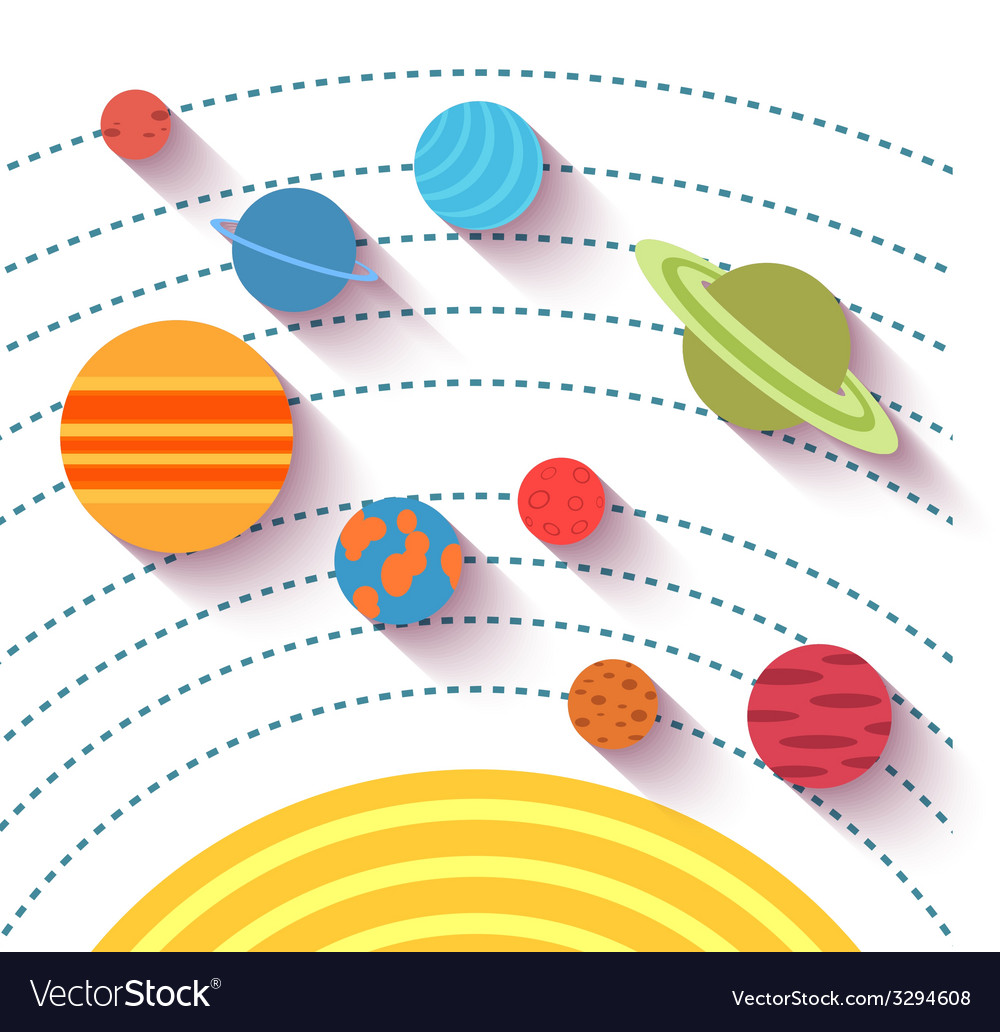 Solar system and space objects set in flat style vector | Price: 1 Credit (USD $1)