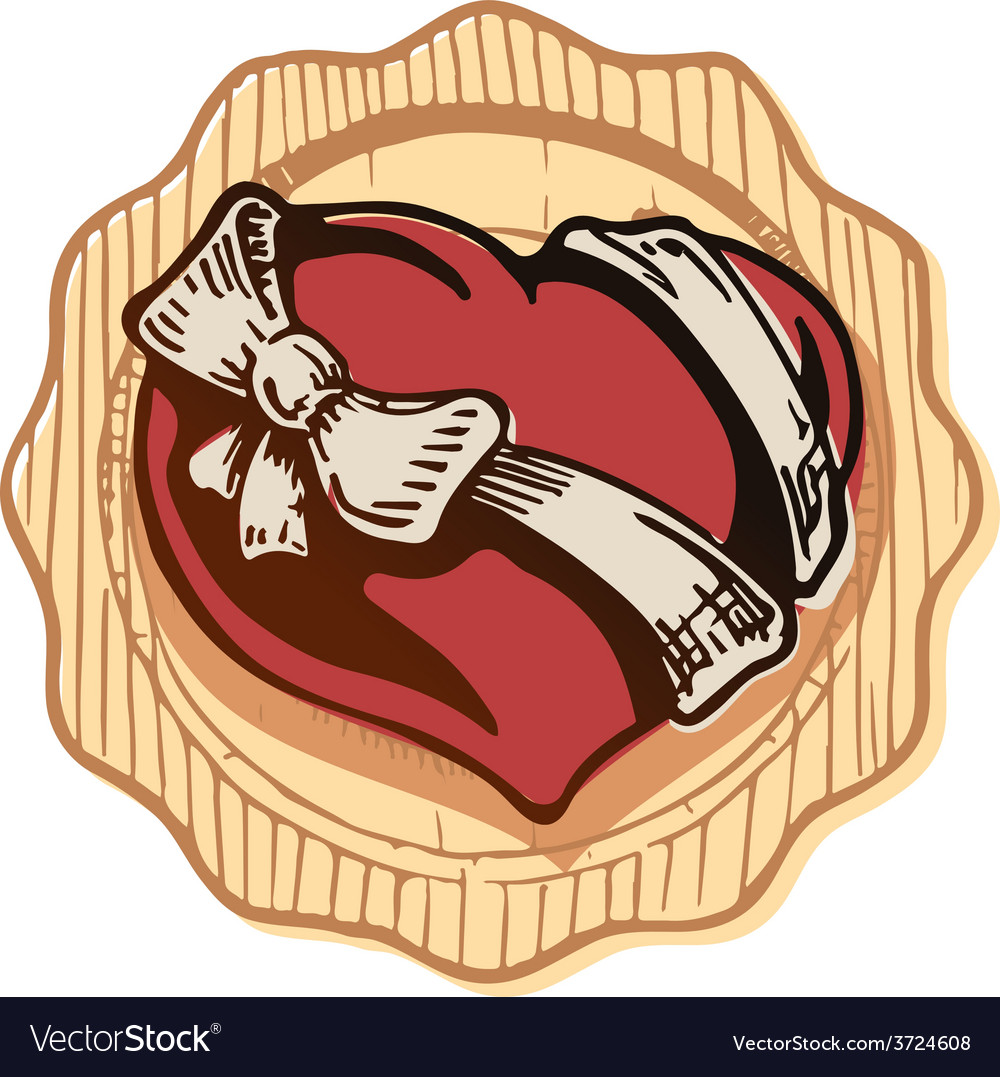 Valentine heart with a bowknot vector | Price: 1 Credit (USD $1)