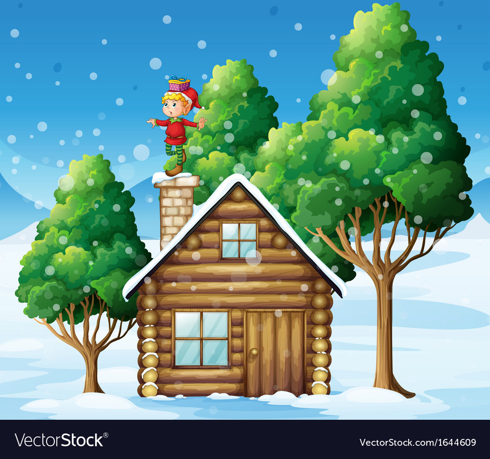 An elf above the house in the snowy land with vector | Price: 3 Credit (USD $3)