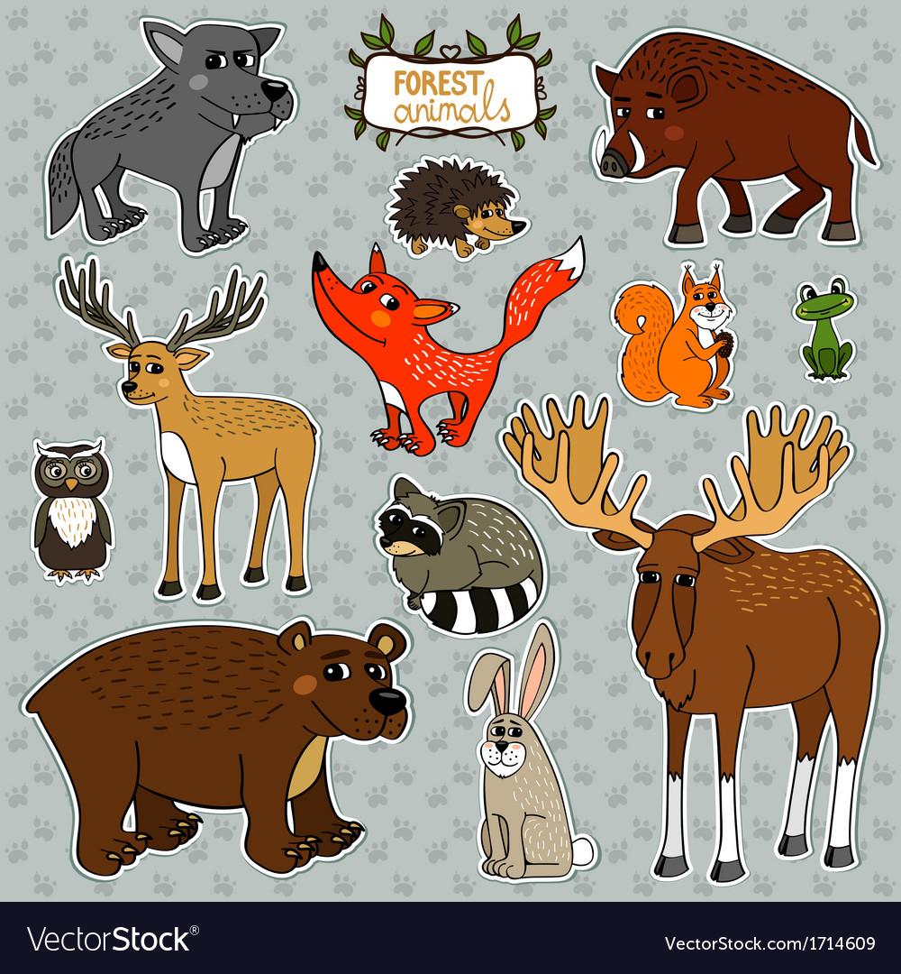 Animals owl deer fox vector | Price: 1 Credit (USD $1)