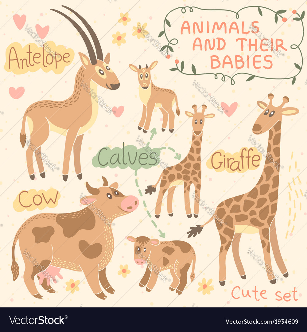 Baby and mommy animal set vector   Price: 1 Credit (USD $1)