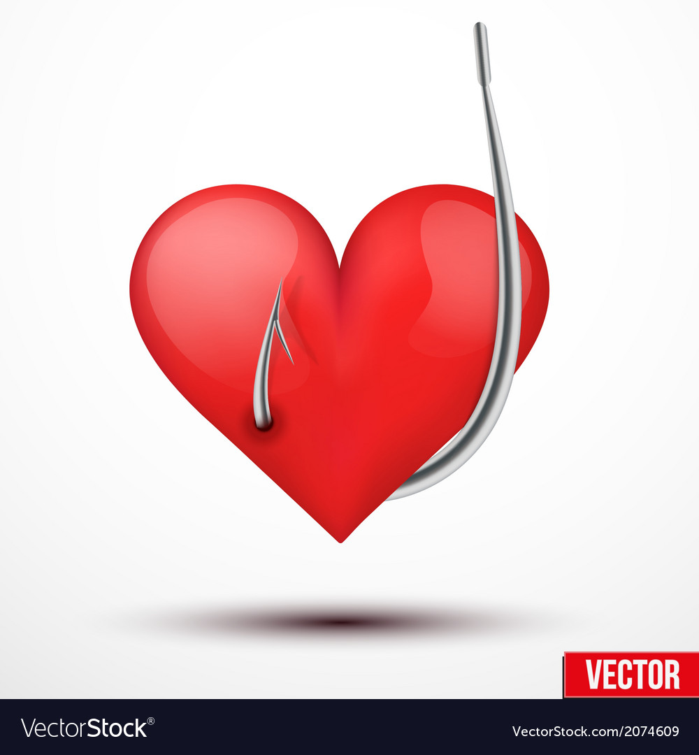 Big realistic heart hung by fishhook vector