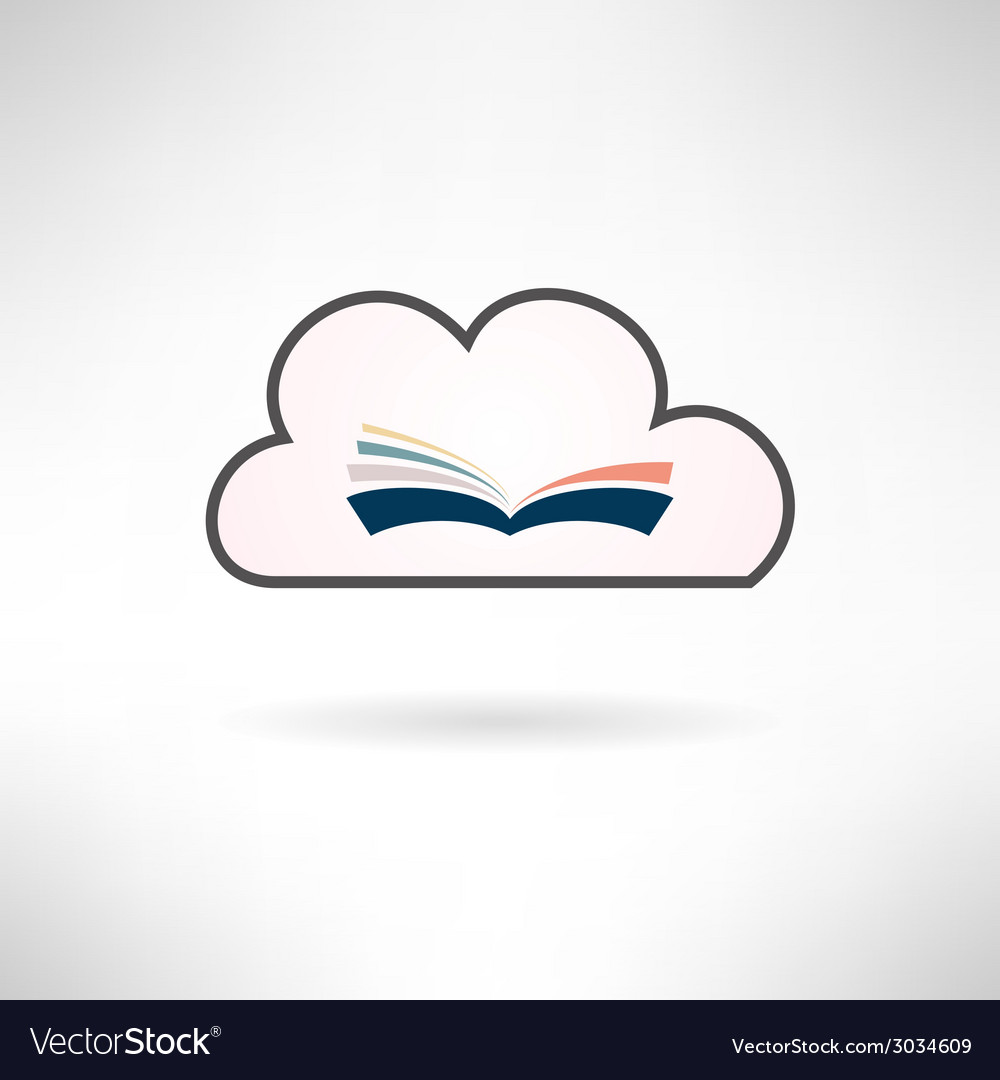 Book icon made in modern flat design cloud library vector | Price: 1 Credit (USD $1)