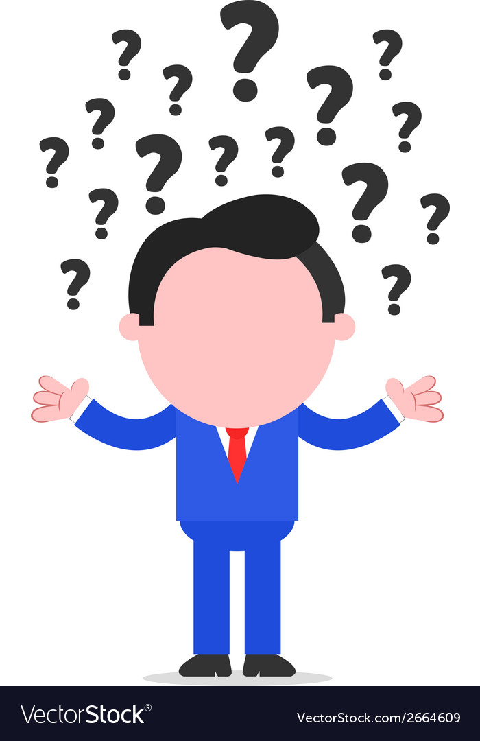 Businessman with question marks vector | Price: 1 Credit (USD $1)