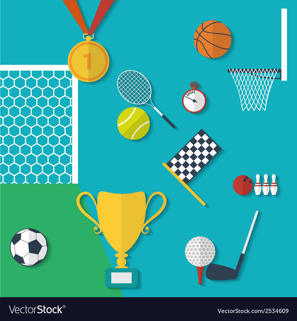 Concept of sports equipment in flat style design vector | Price: 1 Credit (USD $1)