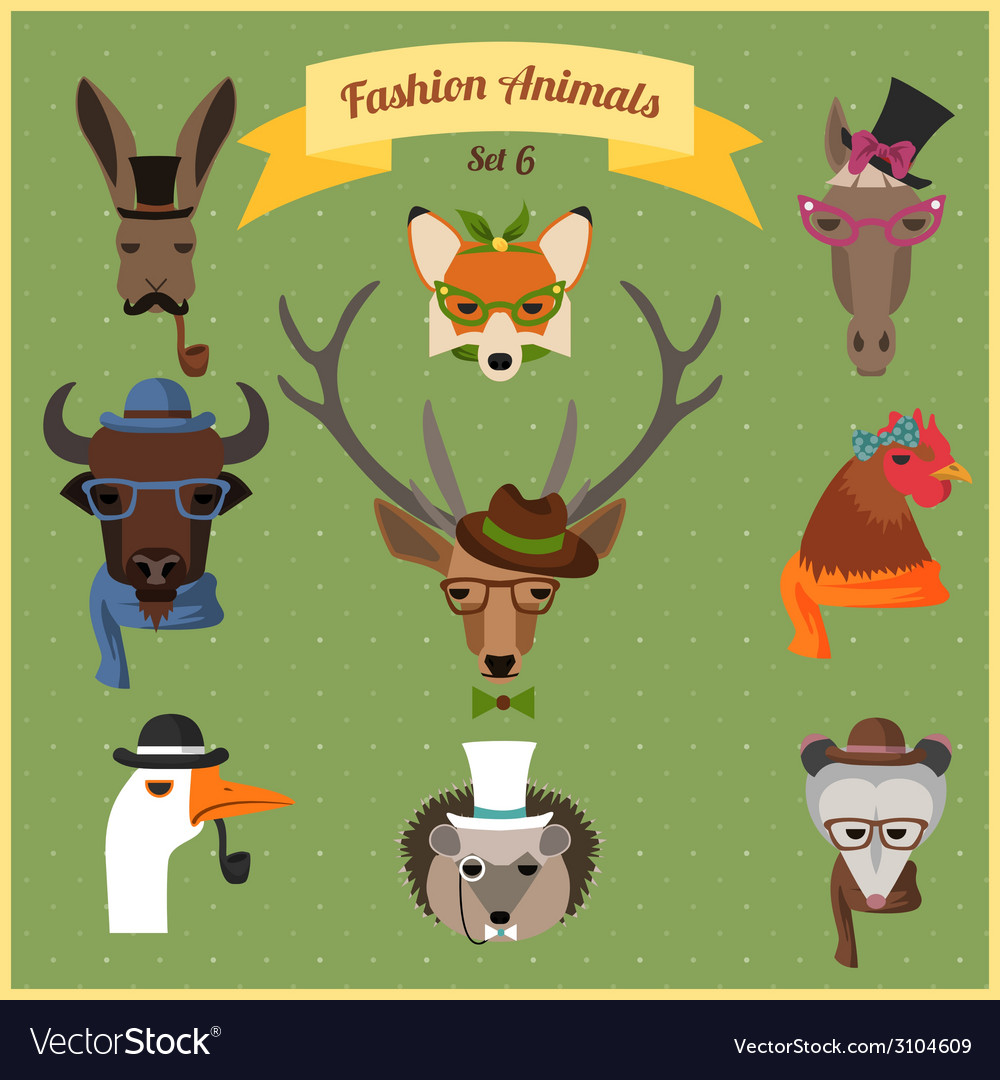 Fashion hipster animals set 6 vector | Price: 1 Credit (USD $1)