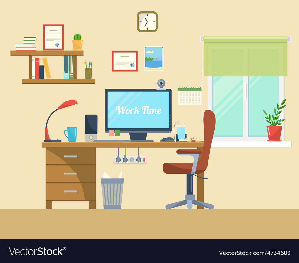 Flat of modern office vector | Price: 1 Credit (USD $1)