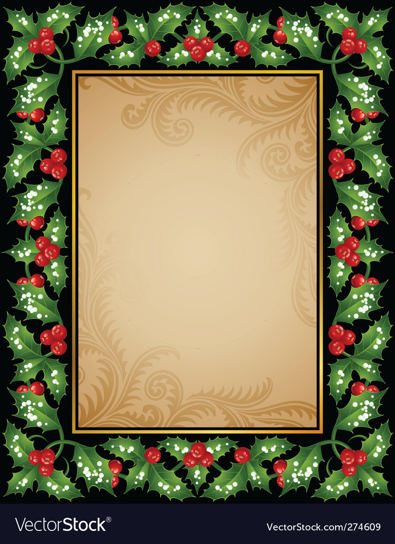 Holly frame vector   Price: 1 Credit (USD $1)