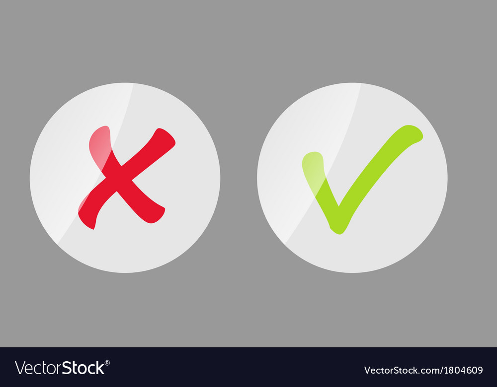 Red and green check mark icons vector | Price: 1 Credit (USD $1)