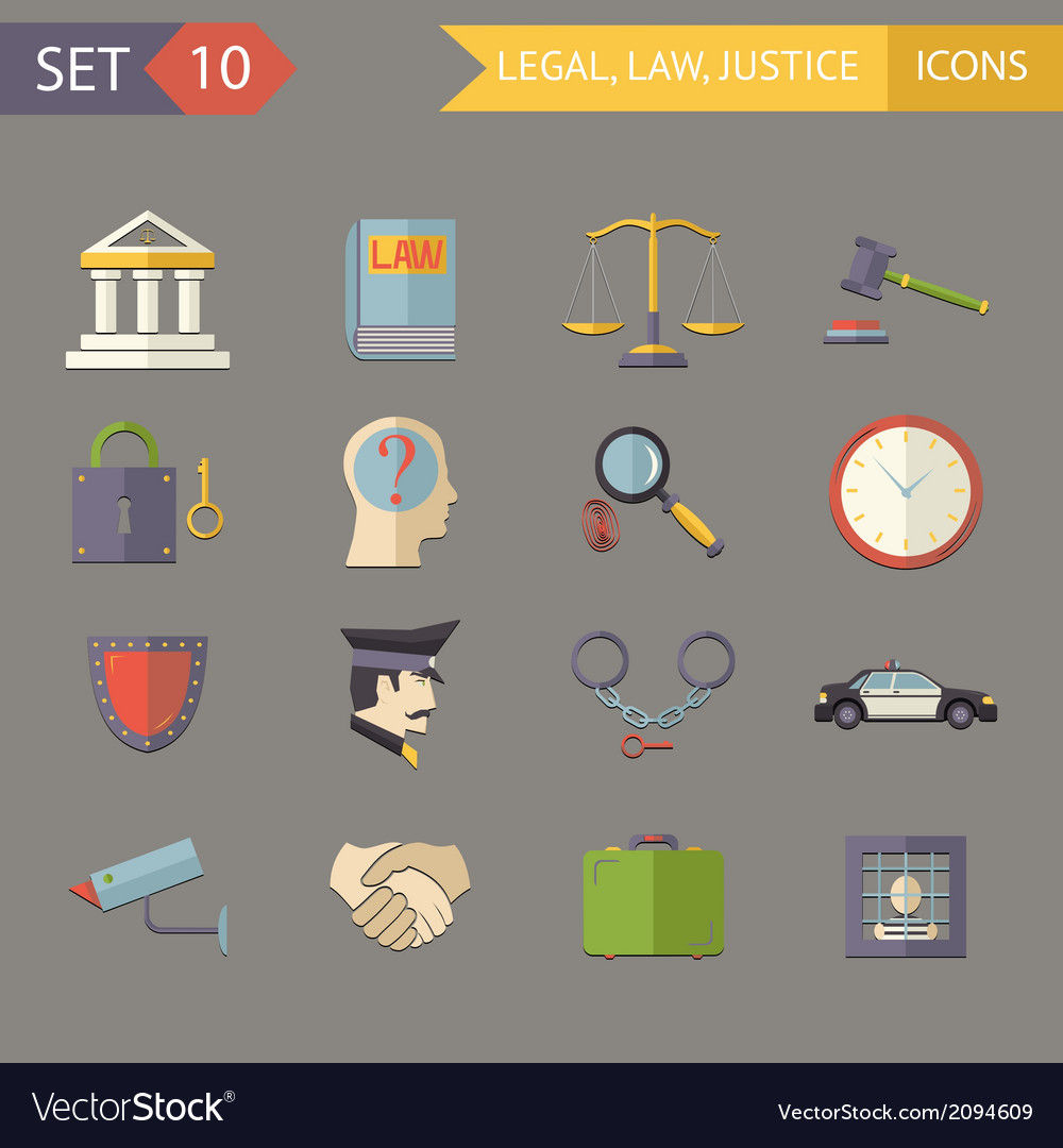 Retro flat law legal justice icons and symbols set vector | Price: 1 Credit (USD $1)
