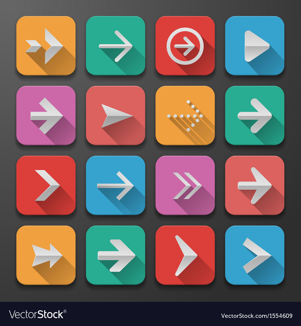 Set arrows icons flat ui design trend vector | Price: 1 Credit (USD $1)