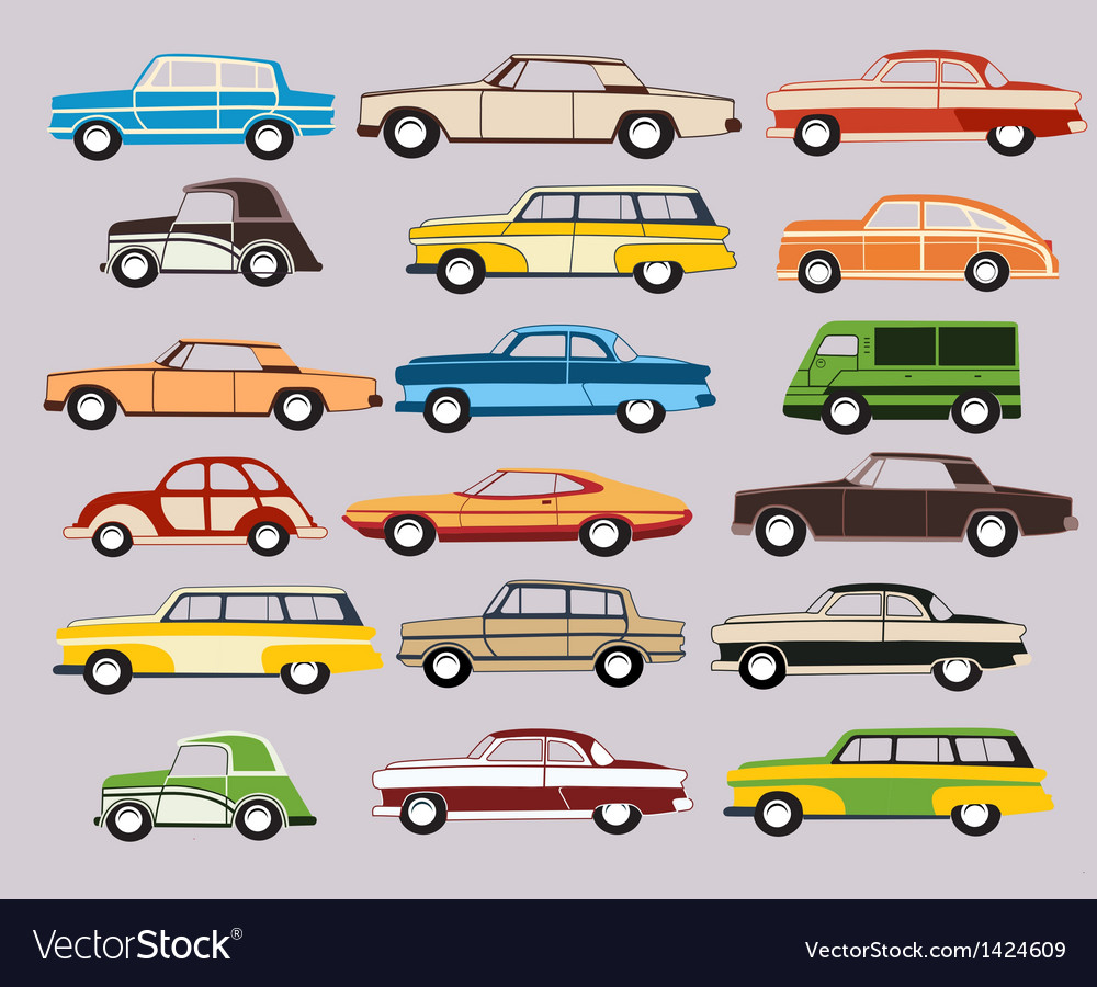 Set of old car vector | Price: 1 Credit (USD $1)