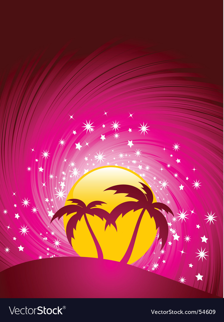 Tropical paradise sunset vector | Price: 1 Credit (USD $1)
