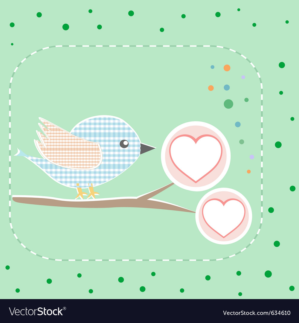 Bird greeting card vector | Price: 1 Credit (USD $1)
