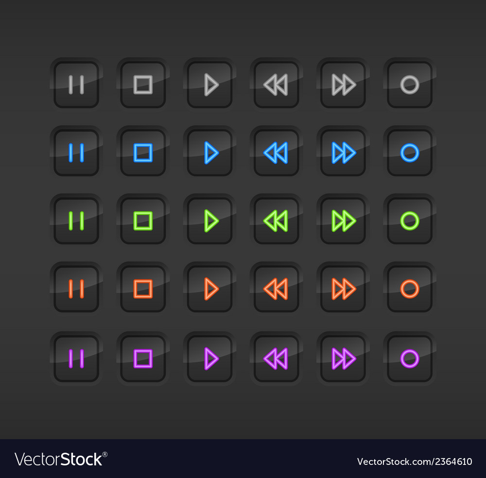 Black media stop and play buttons with shadow vector | Price: 1 Credit (USD $1)