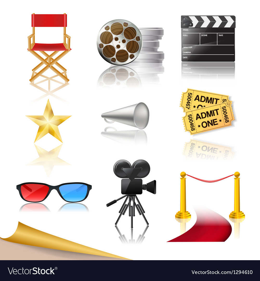 Cinema icons vector | Price: 5 Credit (USD $5)