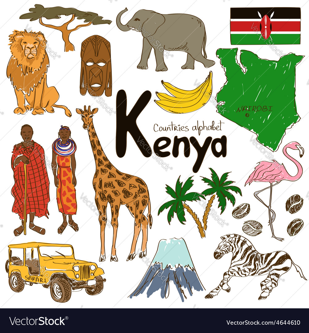 Collection of kenya icons vector | Price: 1 Credit (USD $1)
