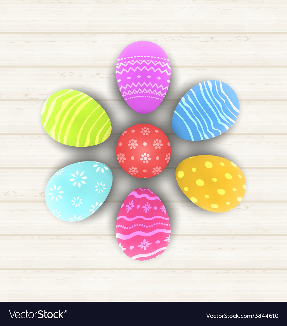 Easter set painted eggs on wooden texture - vector | Price: 1 Credit (USD $1)