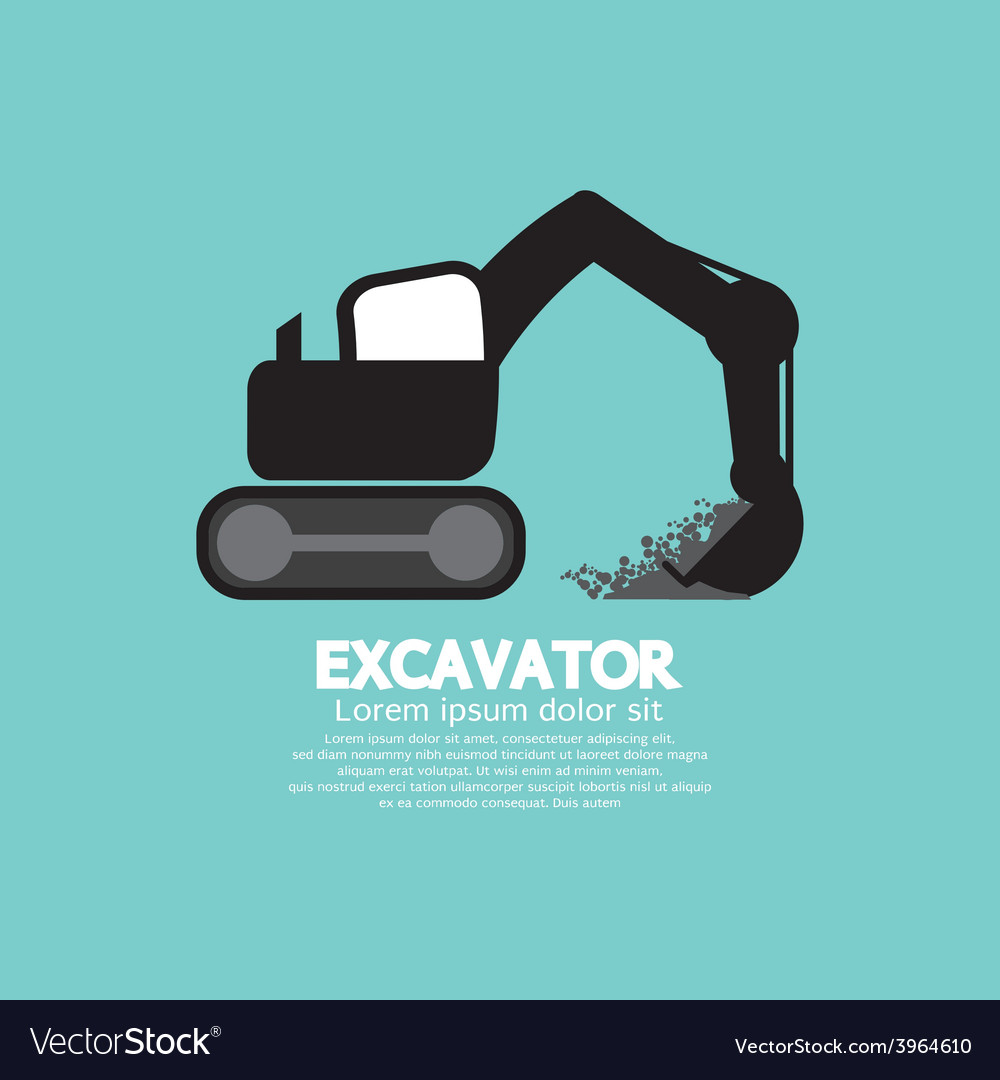 Excavator black graphic symbol vector