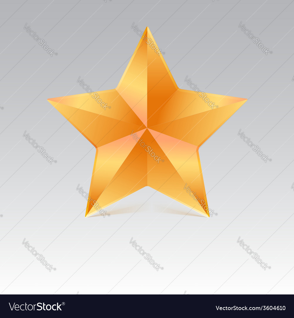 Five pointed star with shadow yellow color vector | Price: 1 Credit (USD $1)