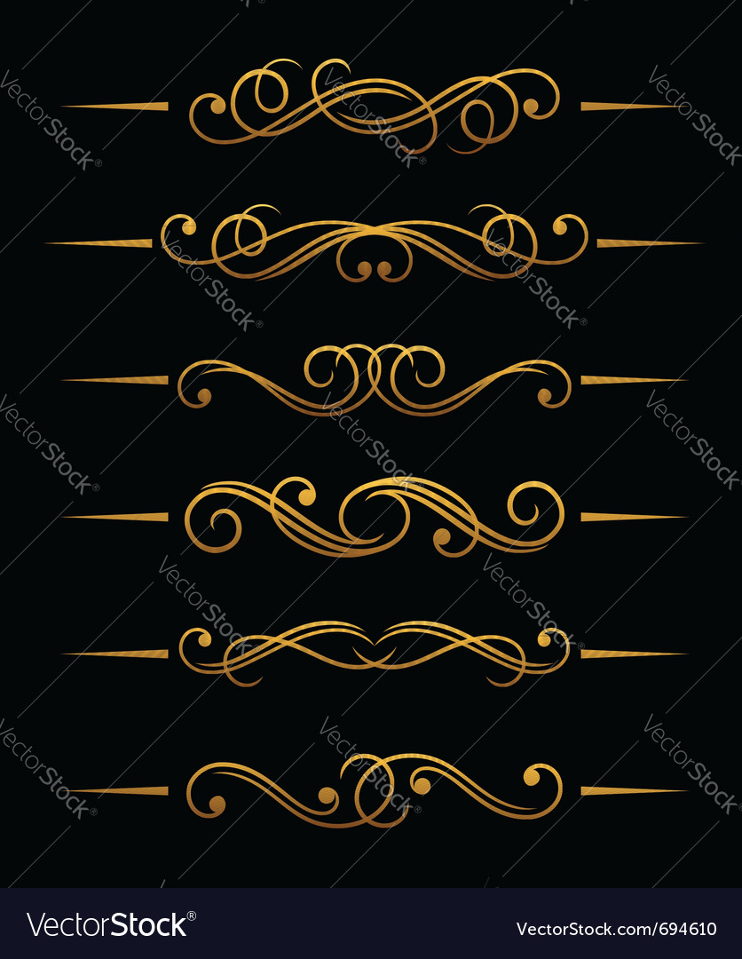 Golden vintage divider vector | Price: 1 Credit (USD $1)