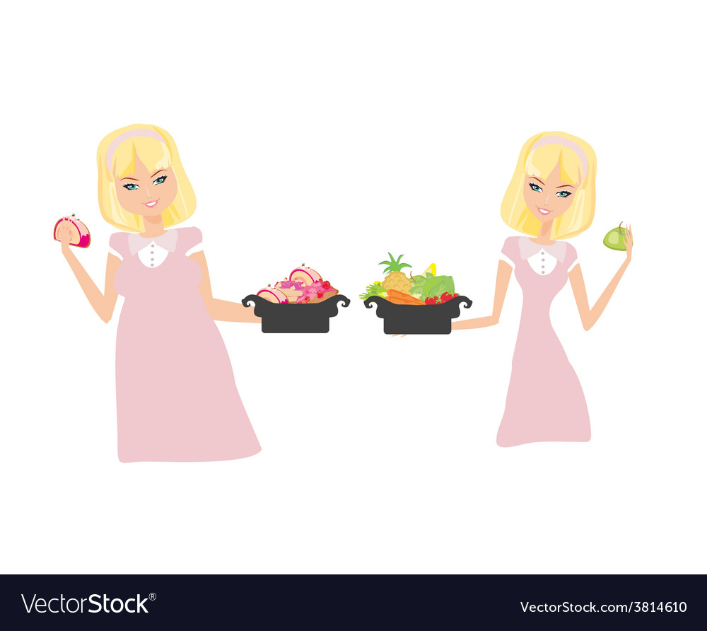 Isolated of thick and thin girls vector | Price: 1 Credit (USD $1)