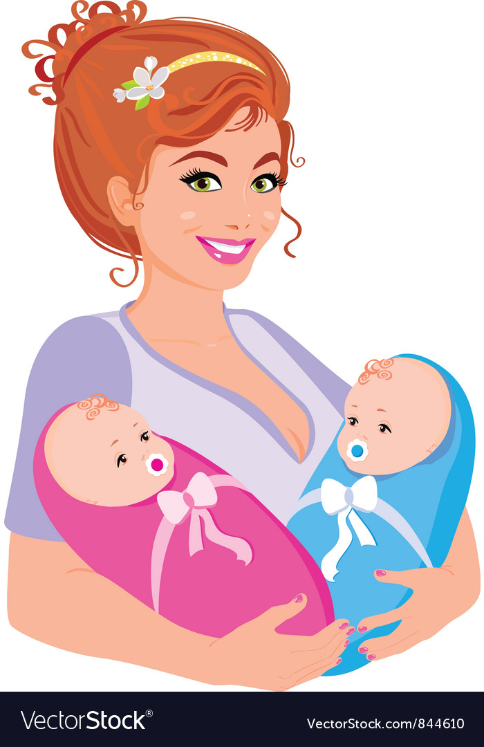 Mum with babies vector | Price: 1 Credit (USD $1)