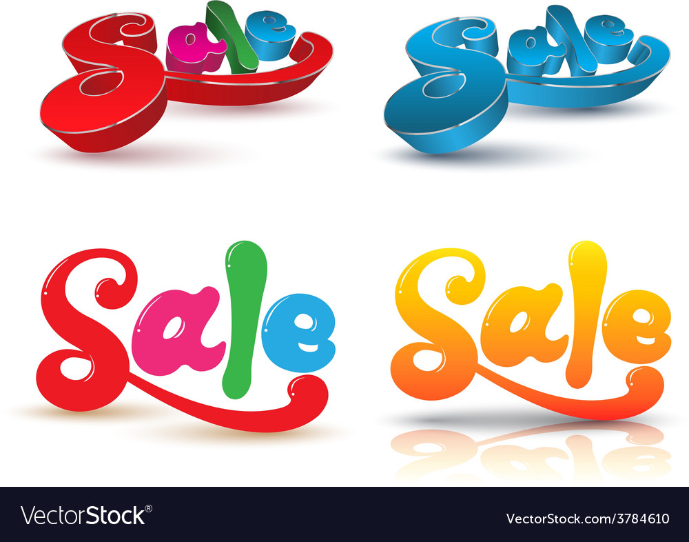 Sale text design set vector | Price: 1 Credit (USD $1)