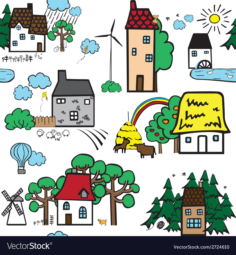 Seamless pattern with houses vector | Price: 1 Credit (USD $1)