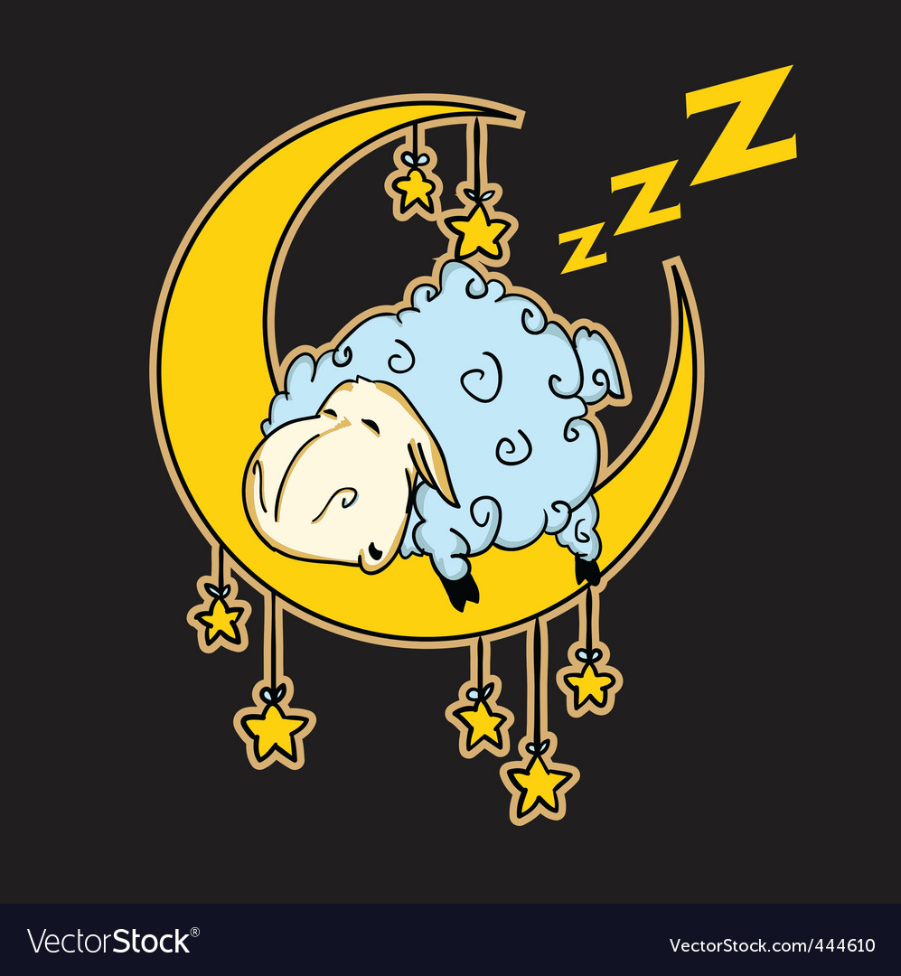 Sheep sleeping on the moon vector | Price: 1 Credit (USD $1)