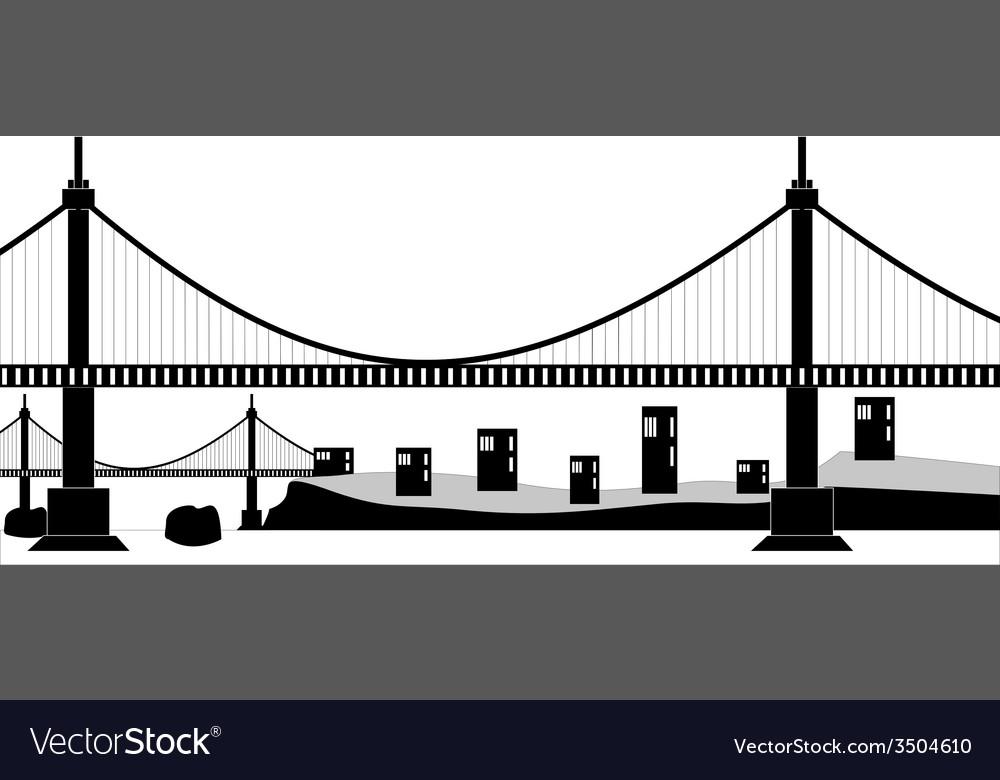 Suspension cable bridge vector | Price: 1 Credit (USD $1)