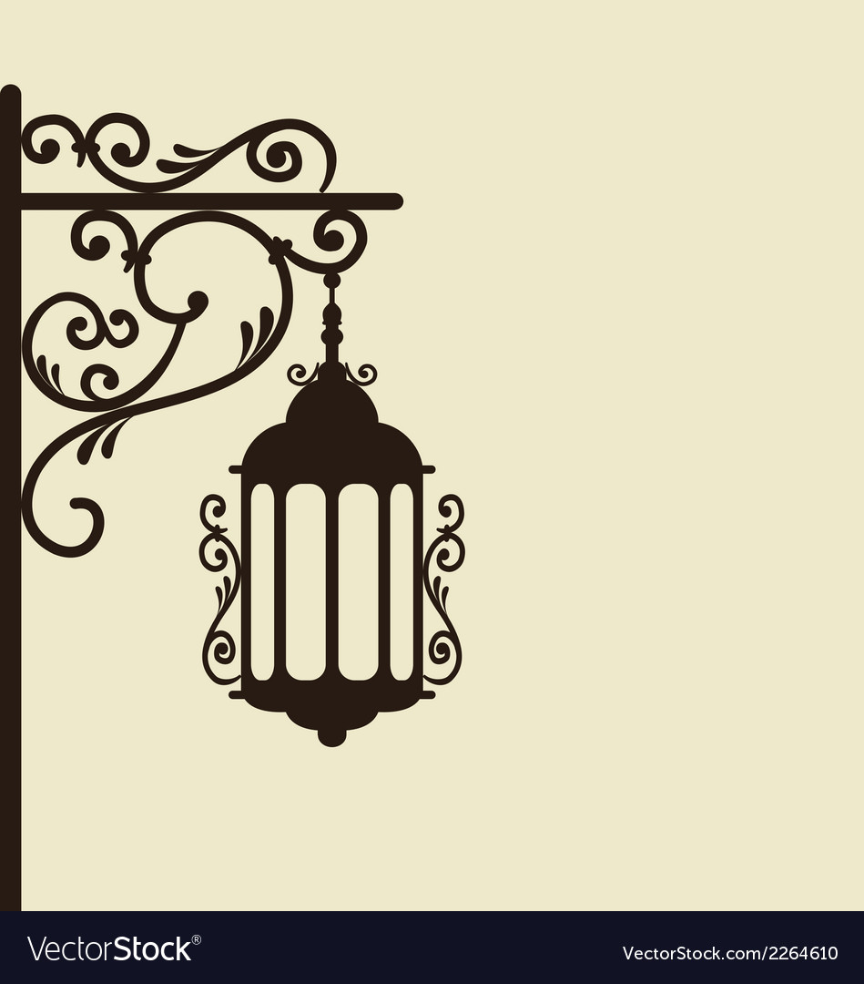 Vintage forging ornate street lantern isolated vector | Price: 1 Credit (USD $1)