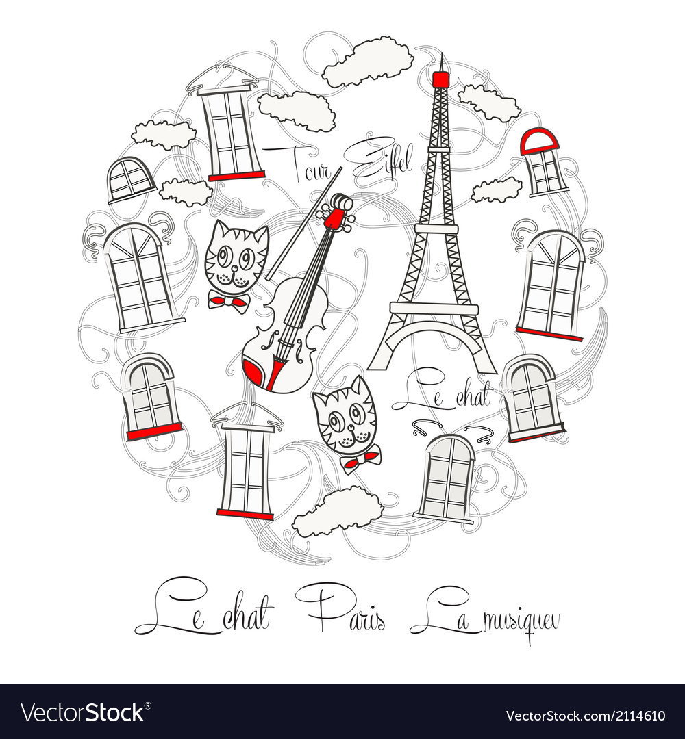 White background with music and tour eiffel vector | Price: 1 Credit (USD $1)