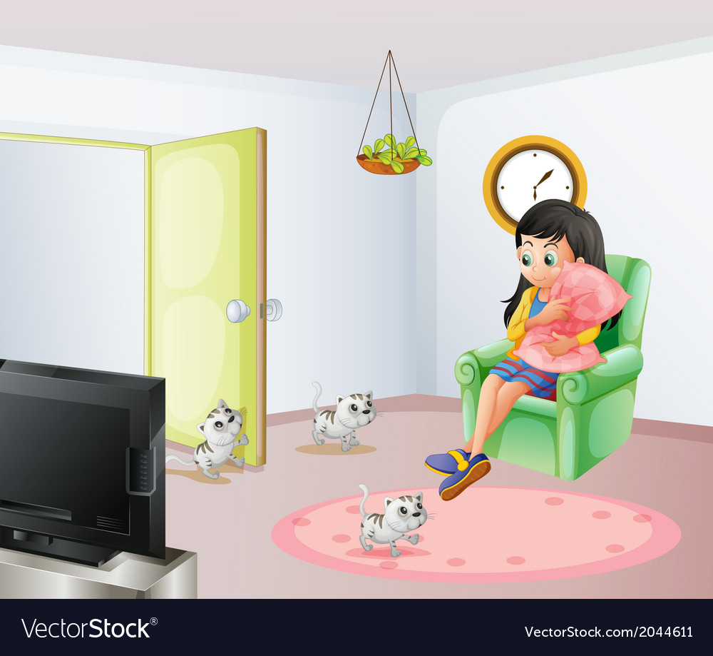 A young girl inside the room with her pets vector | Price: 3 Credit (USD $3)