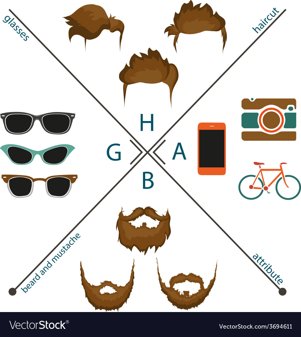 Beard mustache and haircut vector | Price: 1 Credit (USD $1)