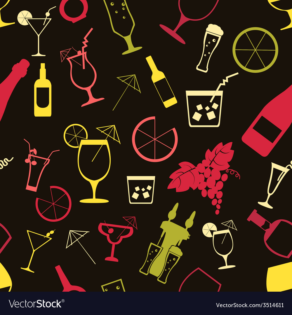Cocktails alcohol drinks background seamless vector | Price: 1 Credit (USD $1)