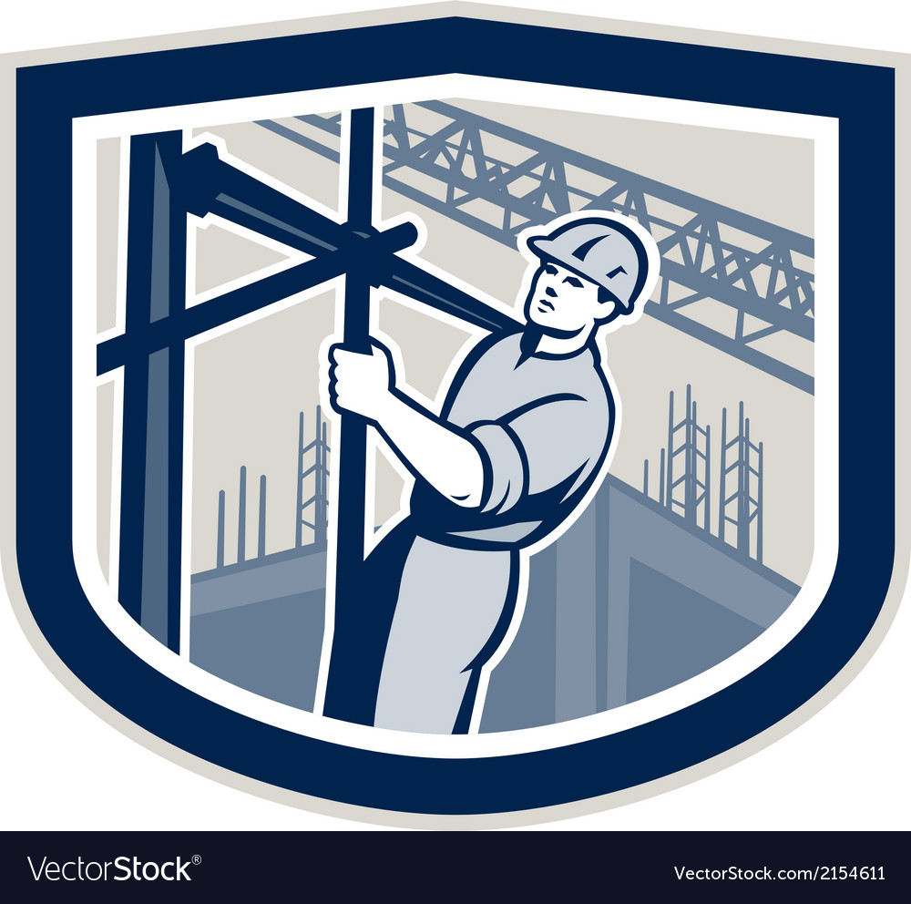 Construction worker climbing scaffolding shield vector | Price: 1 Credit (USD $1)