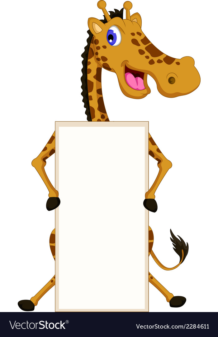 Cute giraffe cartoon with blank sign vector | Price: 1 Credit (USD $1)