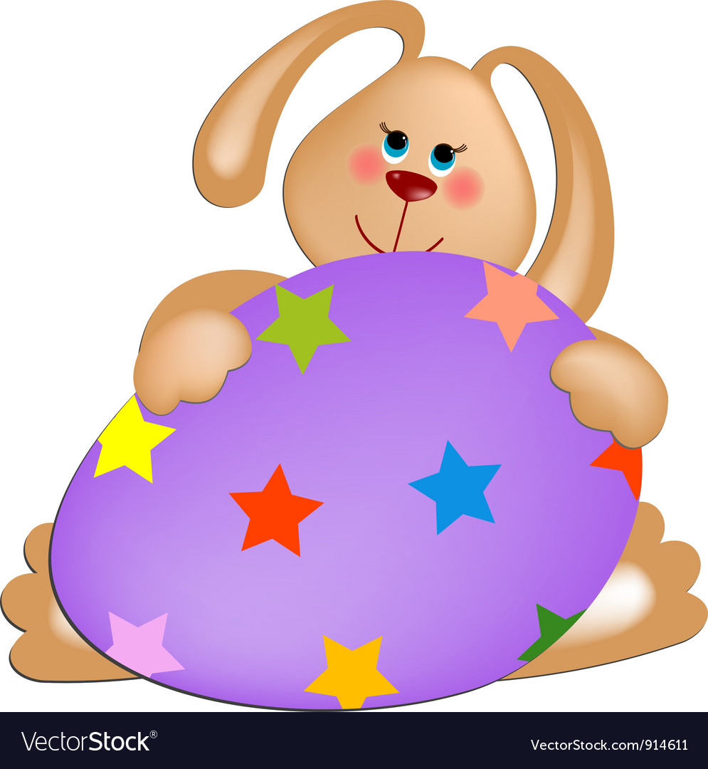 Easter rabbit with painted egg vector | Price: 1 Credit (USD $1)