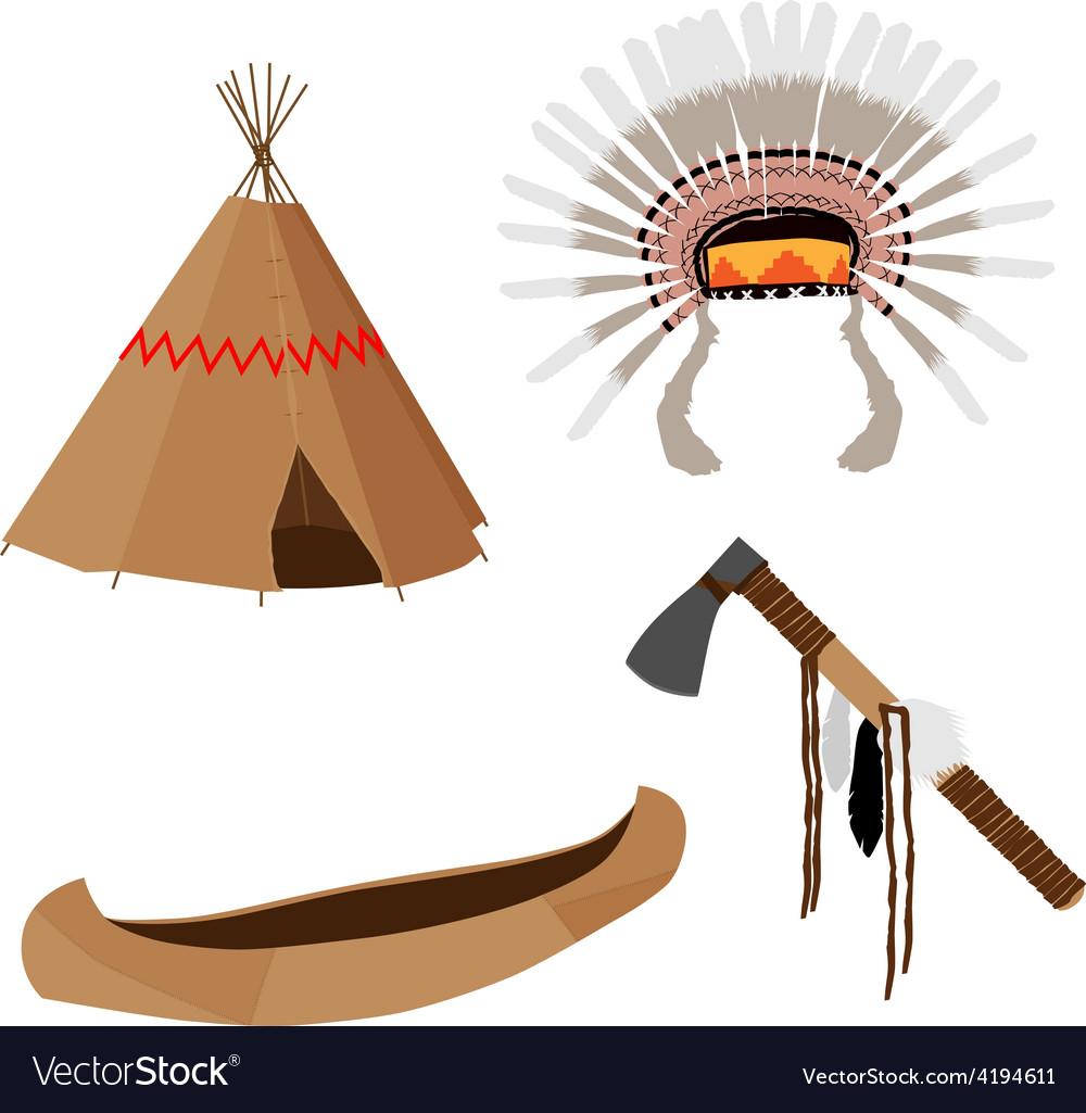 Native american set vector | Price: 1 Credit (USD $1)