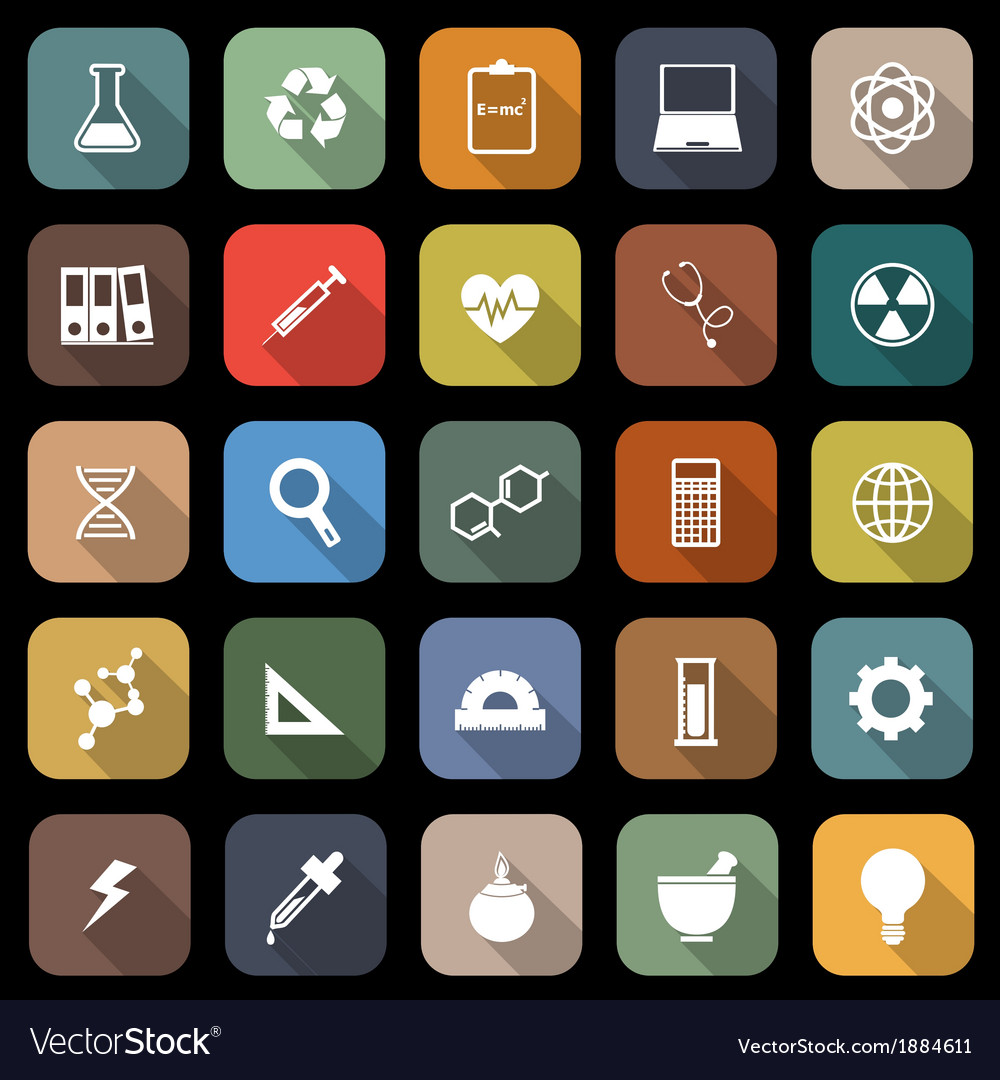 Science flat icons with long shadow vector | Price: 1 Credit (USD $1)