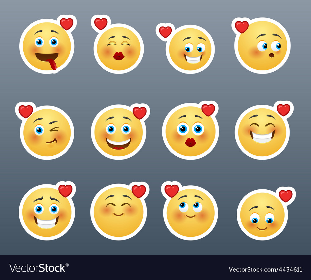 Smileys with hearts vector | Price: 1 Credit (USD $1)