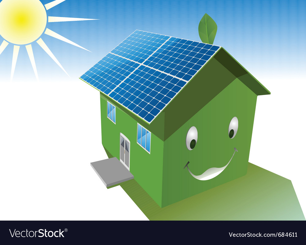 Solar house vector | Price: 1 Credit (USD $1)