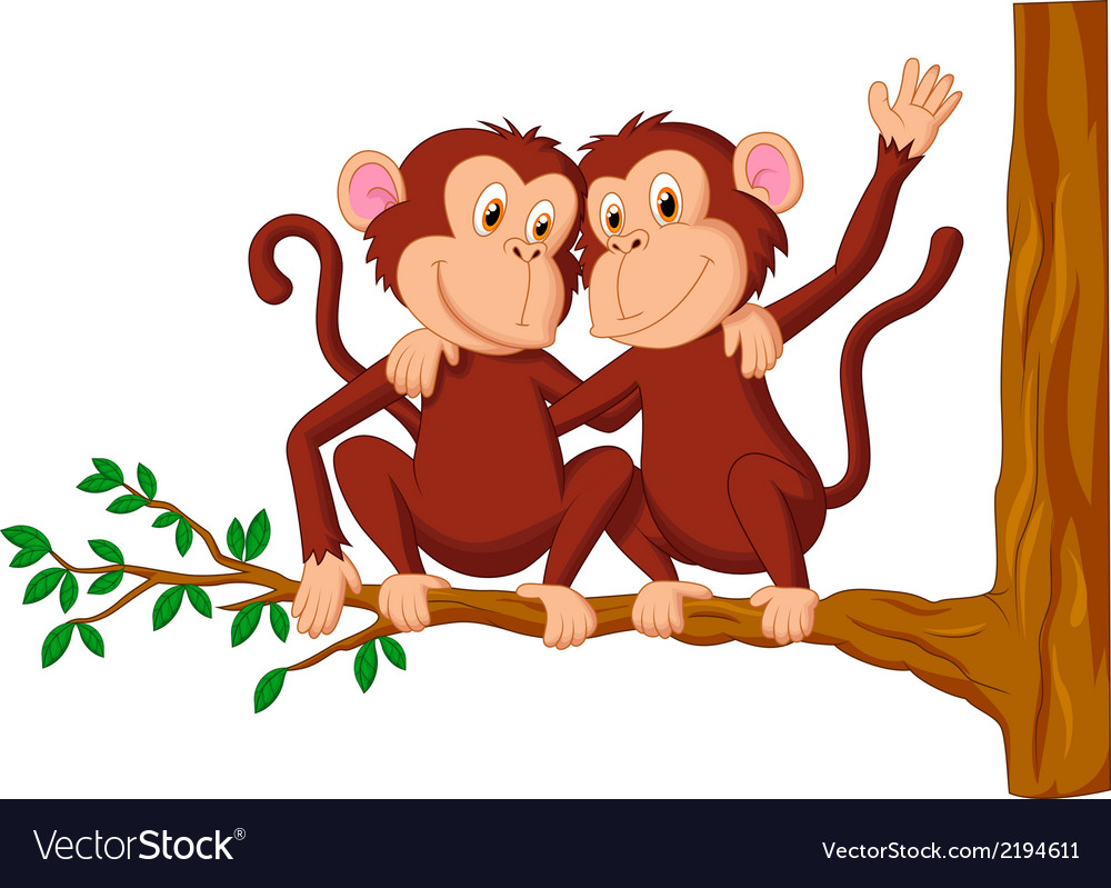 Two monkeys cartoon sitting on a tree vector | Price: 1 Credit (USD $1)