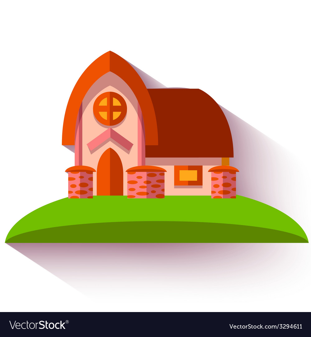 With cute house in flat style vector | Price: 1 Credit (USD $1)