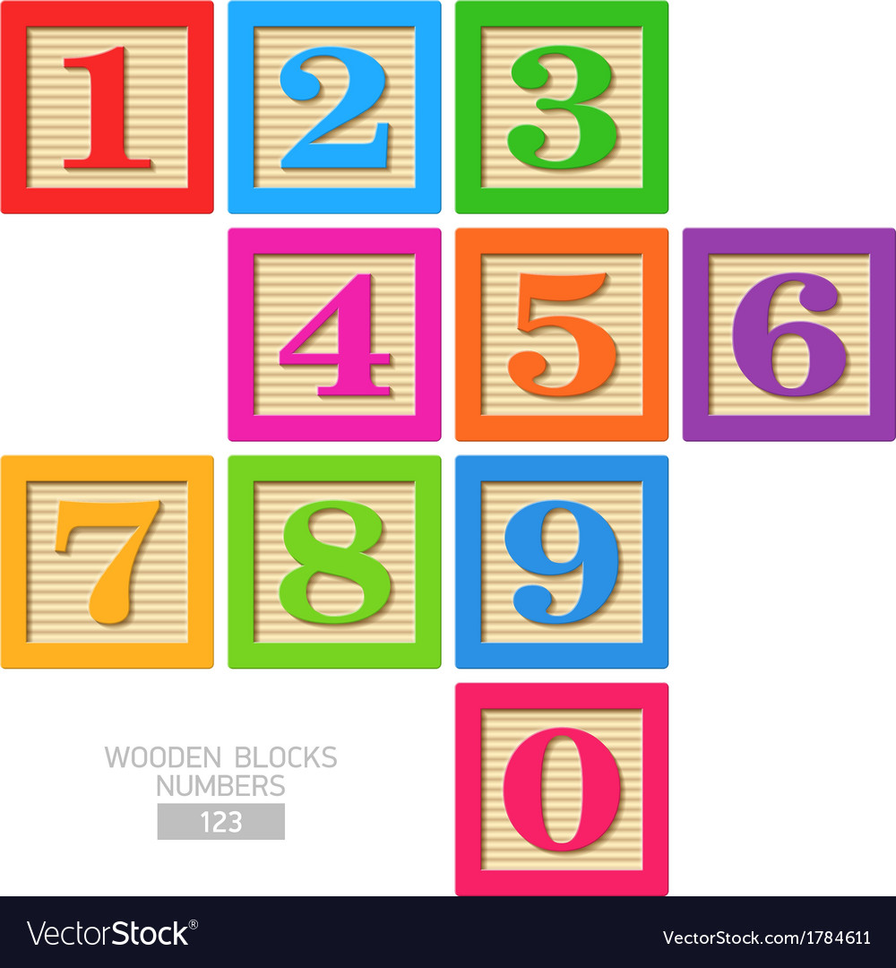 Wooden blocks numbers vector | Price: 1 Credit (USD $1)