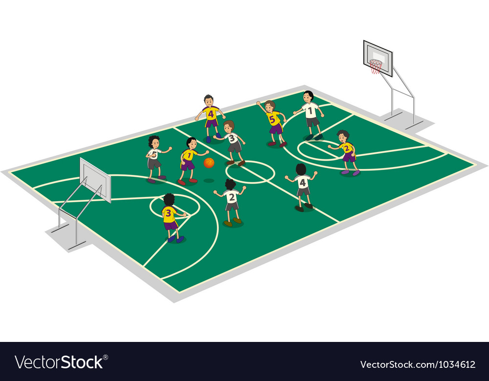 Boys playing basket ball vector | Price: 1 Credit (USD $1)
