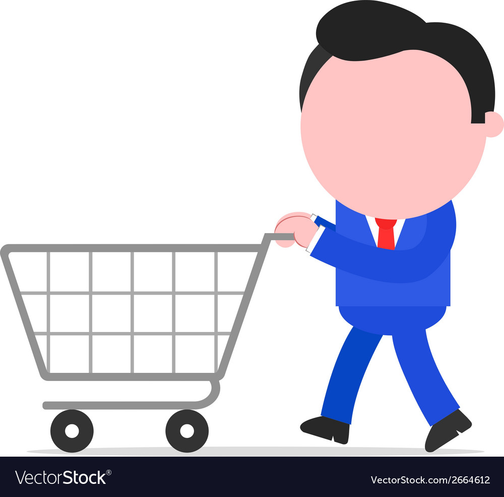 Businessman pushing shopping cart vector | Price: 1 Credit (USD $1)